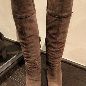 Joan David tan suede block heel boots